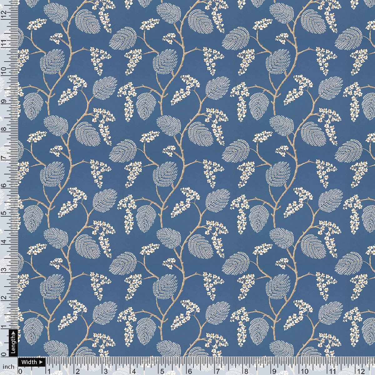 White Jasud Flower With Stalk Digital Printed Fabric - Pure Cotton - FAB VOGUE Studio
