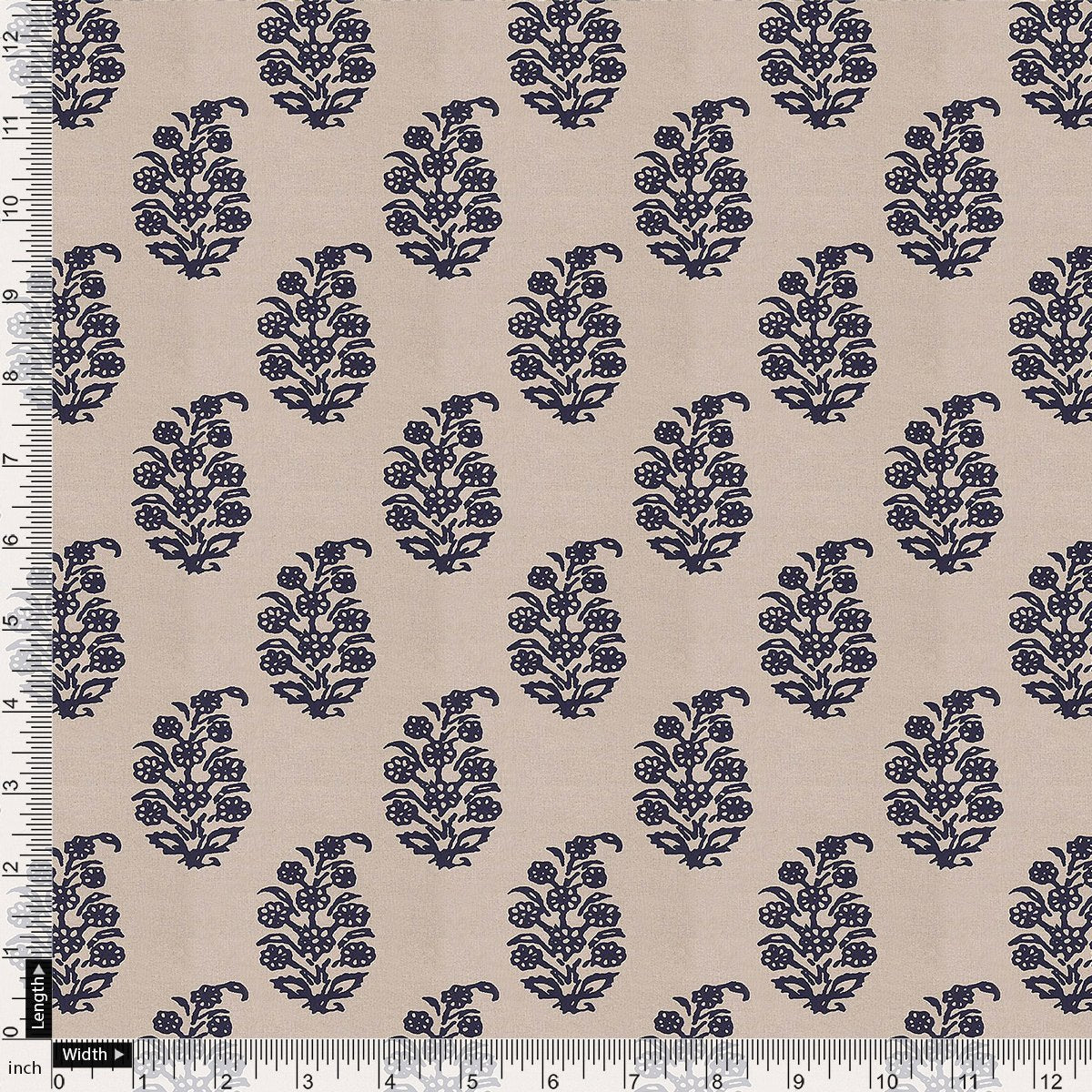 Block Print Motif Digital Printed Fabric - Pure Chiffon