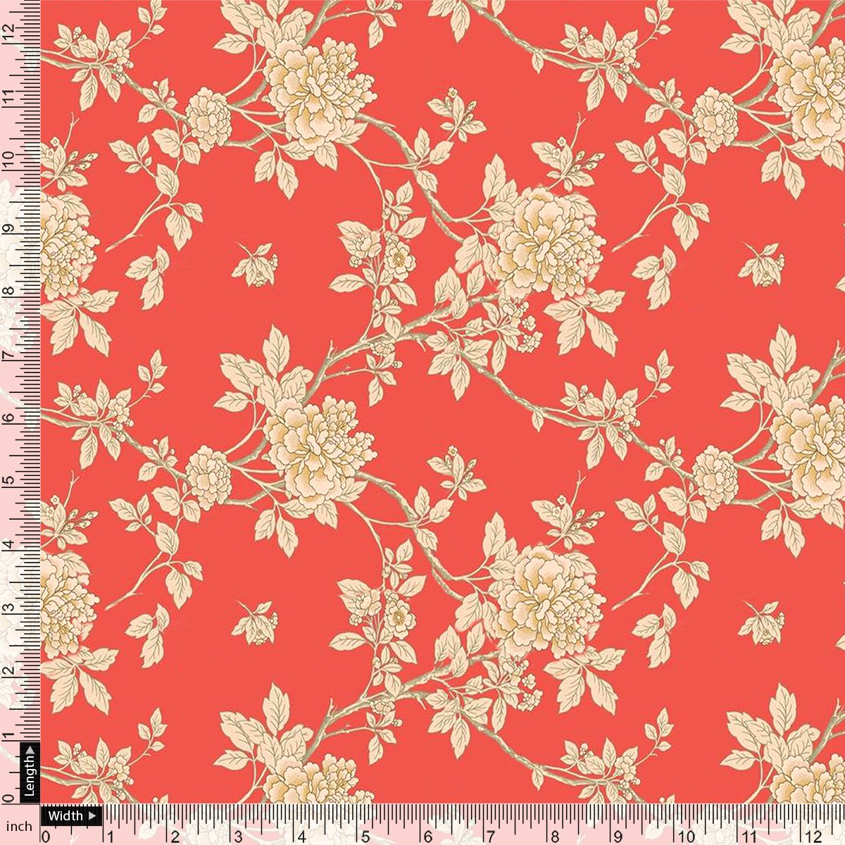 Flower Bunch On Dreamy Orange Digital Printed Fabric  - Pure Cotton - FAB VOGUE Studio