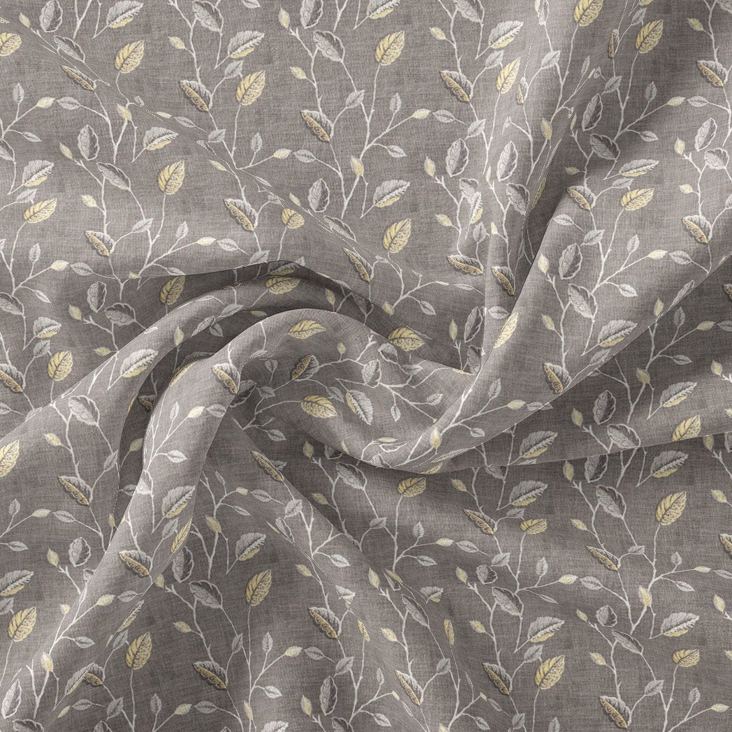 Brown Leaves With Stalk Digital Printed Fabric - Pure Chinon - FAB VOGUE Studio