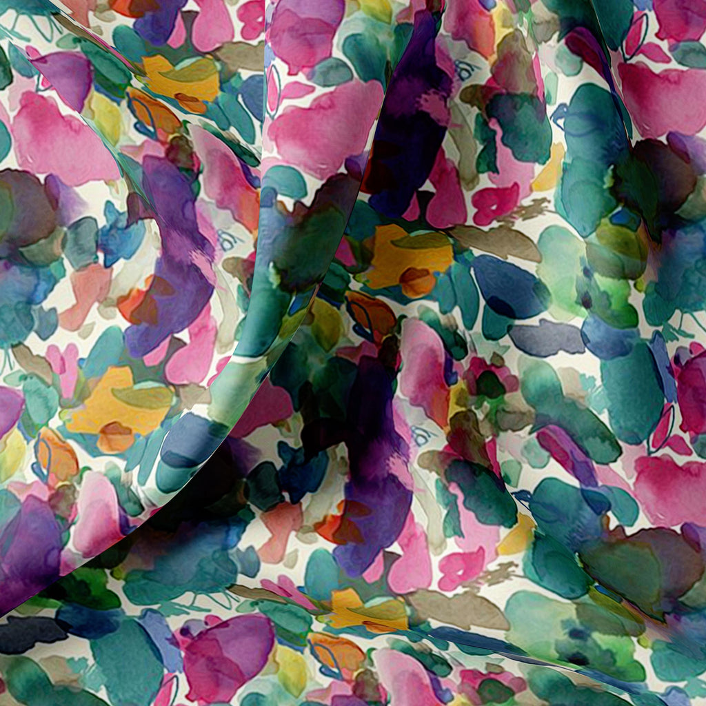 Multicolor Abstract Pattern Digital Printed Fabric - FAB VOGUE Studio