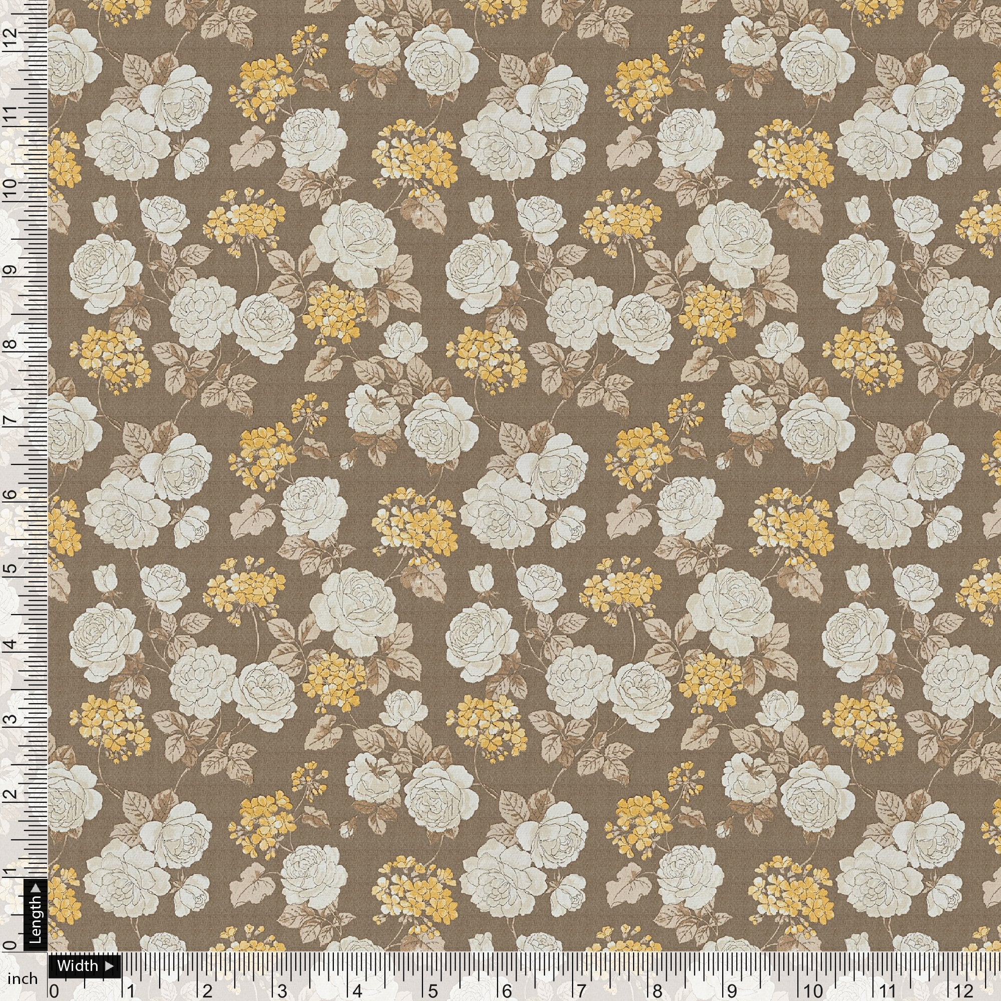 Beautiful Floral Vine Over Brown Base Digital Printed Fabric - FAB VOGUE Studio. Shop Fabric @ www.fabvoguestudio.com