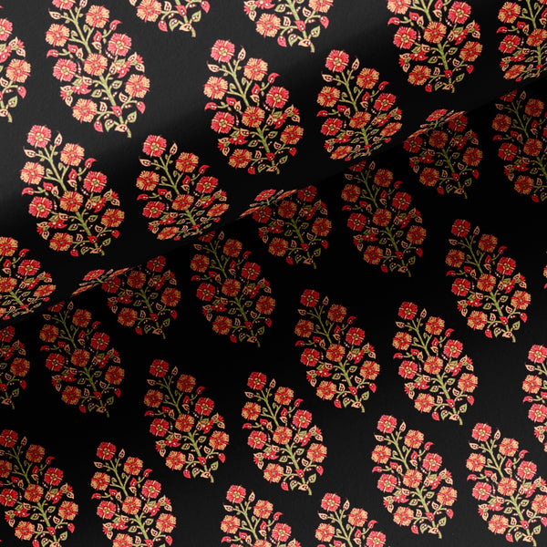 Red Floral Laying Over Black Digital Printed Fabric