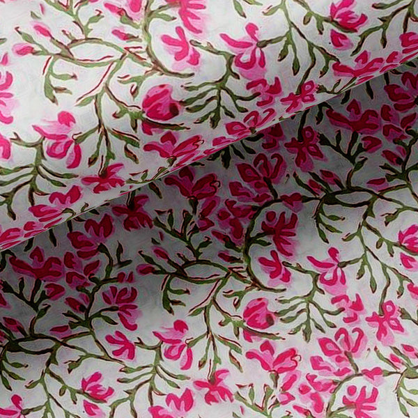 Pink Floral Ditzy Pattern Digital Printed Fabric