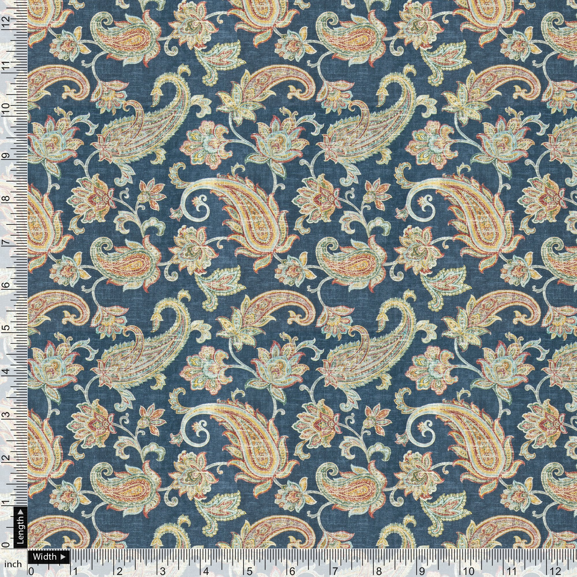 Multi color Paisley Over Blue Base Digital Printed Fabric - FAB VOGUE Studio. Shop Fabric @ www.fabvoguestudio.com