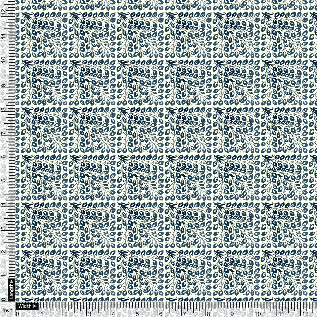 Morpich Block Digital Printed Fabric  - Upada Silk