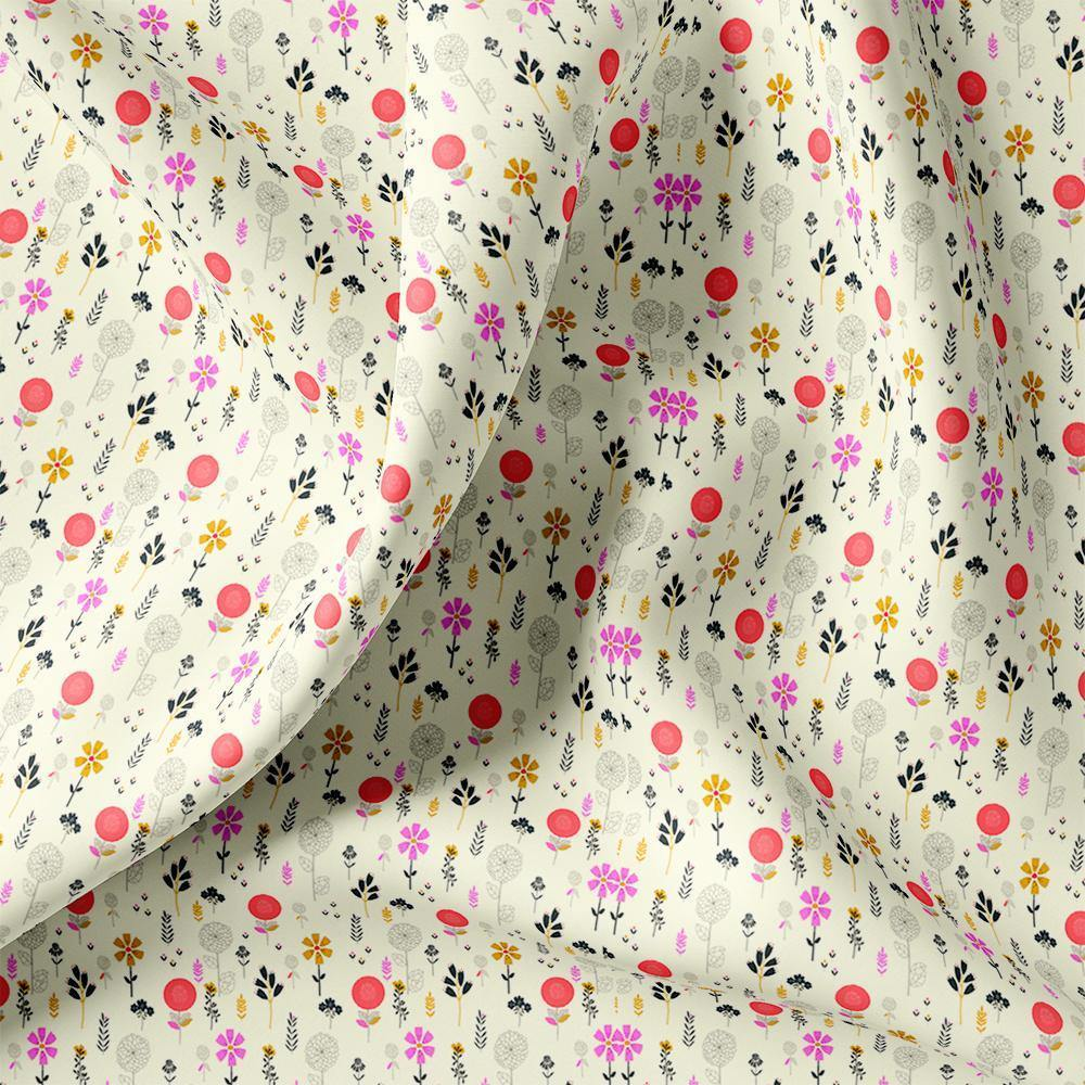 Small Motif Flowers Digital Printed Fabric - FAB VOGUE Studio. Shop Fabric @ www.fabvoguestudio.com