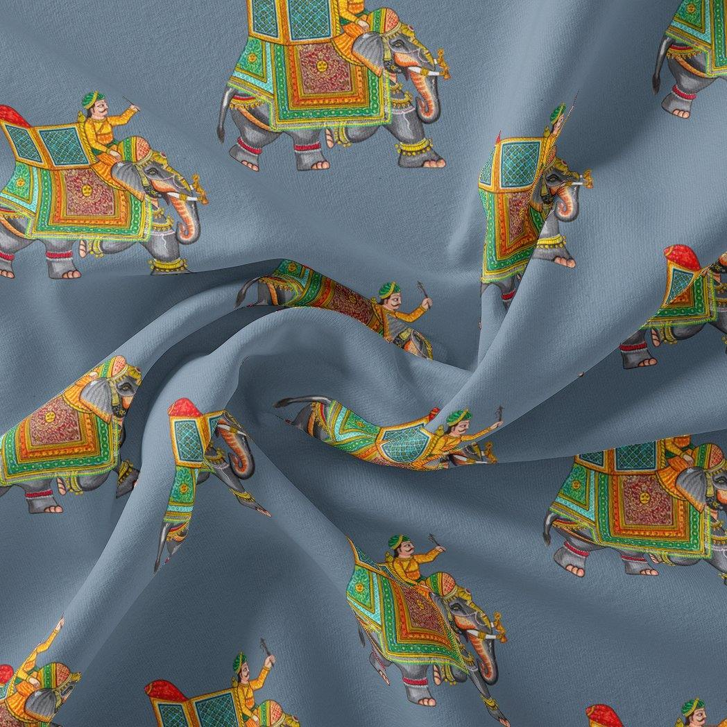 Traditional Elephant Motif Digital Printed Fabric - FAB VOGUE Studio. Shop Fabric @ www.fabvoguestudio.com