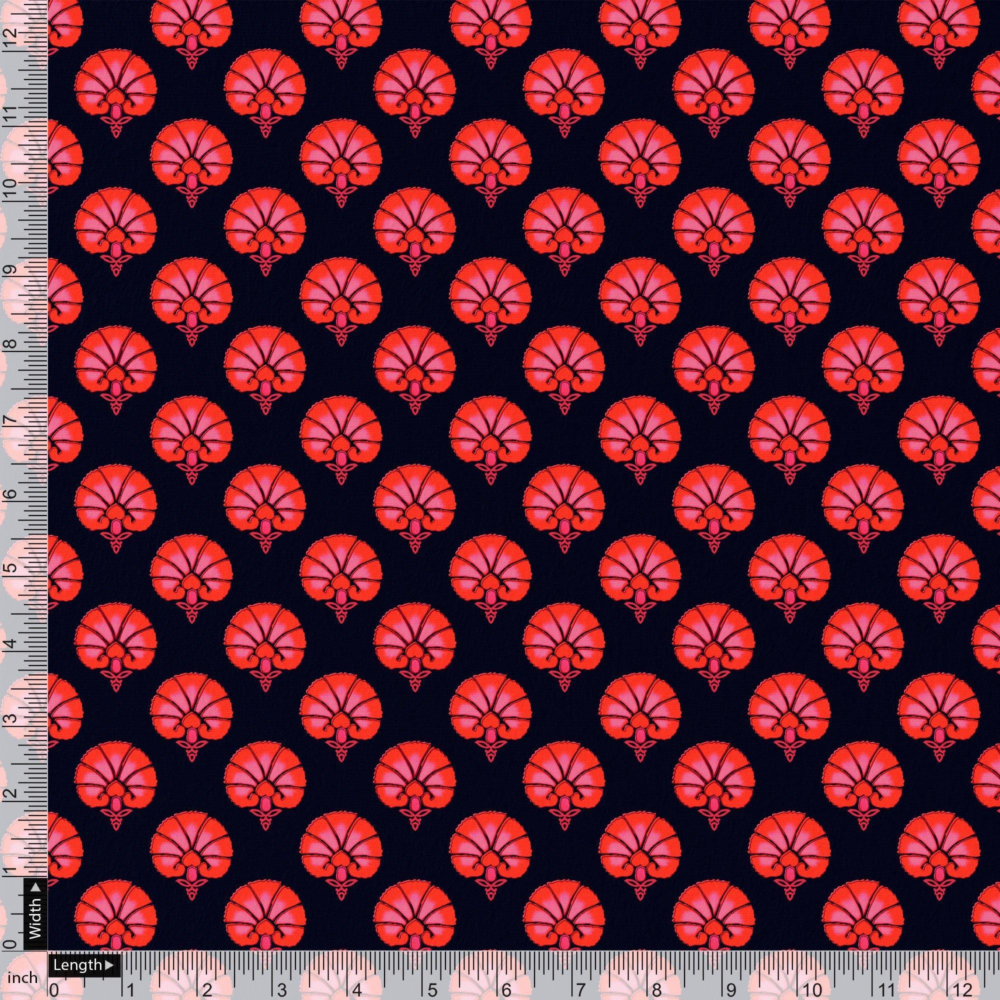 Beautiful Red Floral Over Dark Blue Base Printed Fabric - FAB VOGUE Studio. Shop Fabric @ www.fabvoguestudio.com