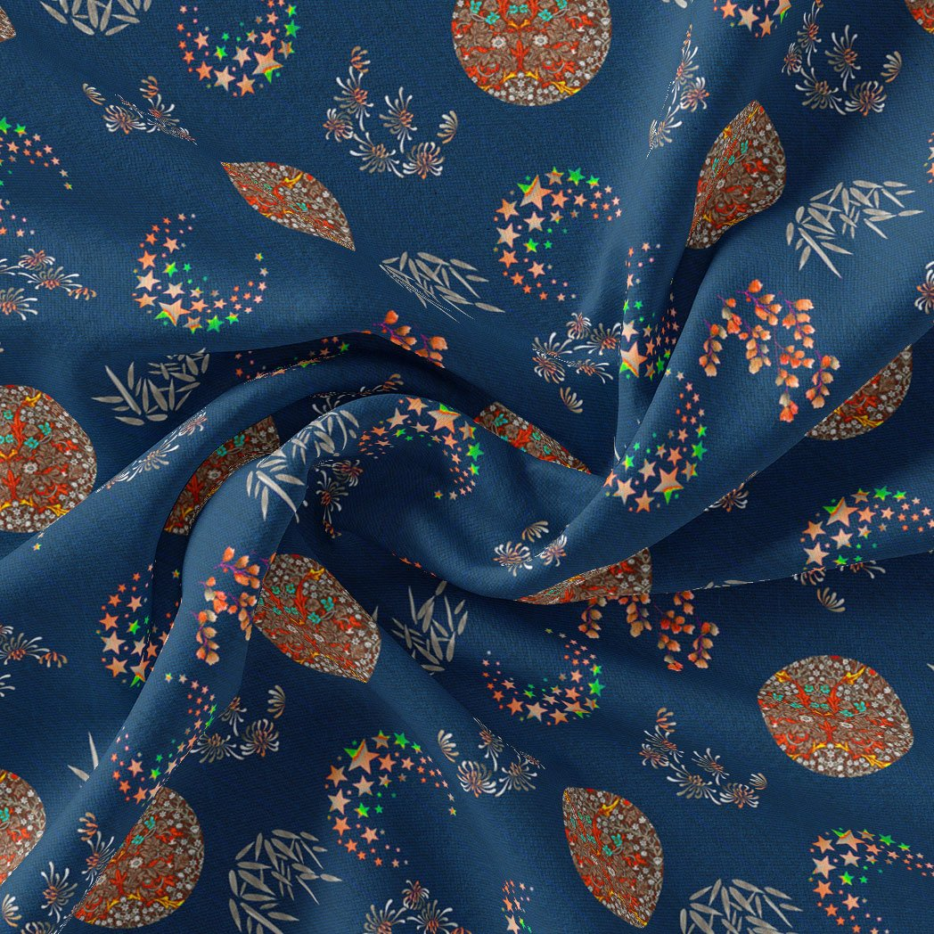 Beautiful Quirky Pattern over Blue Base Digital Printed Fabric - FAB VOGUE Studio. Shop Fabric @ www.fabvoguestudio.com