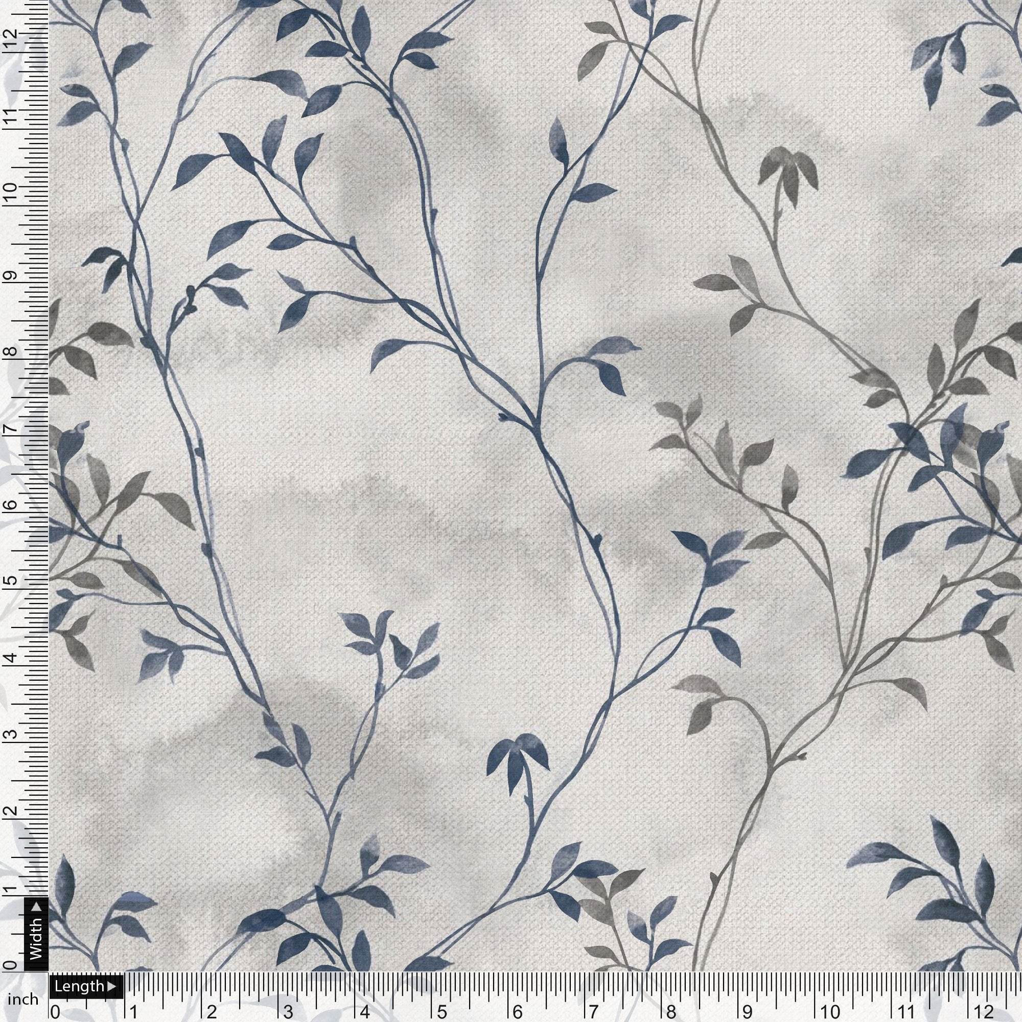 Leaves Vines Over Dusty Grey Base Digital Printed Fabric - FAB VOGUE Studio. Shop Fabric @ www.fabvoguestudio.com