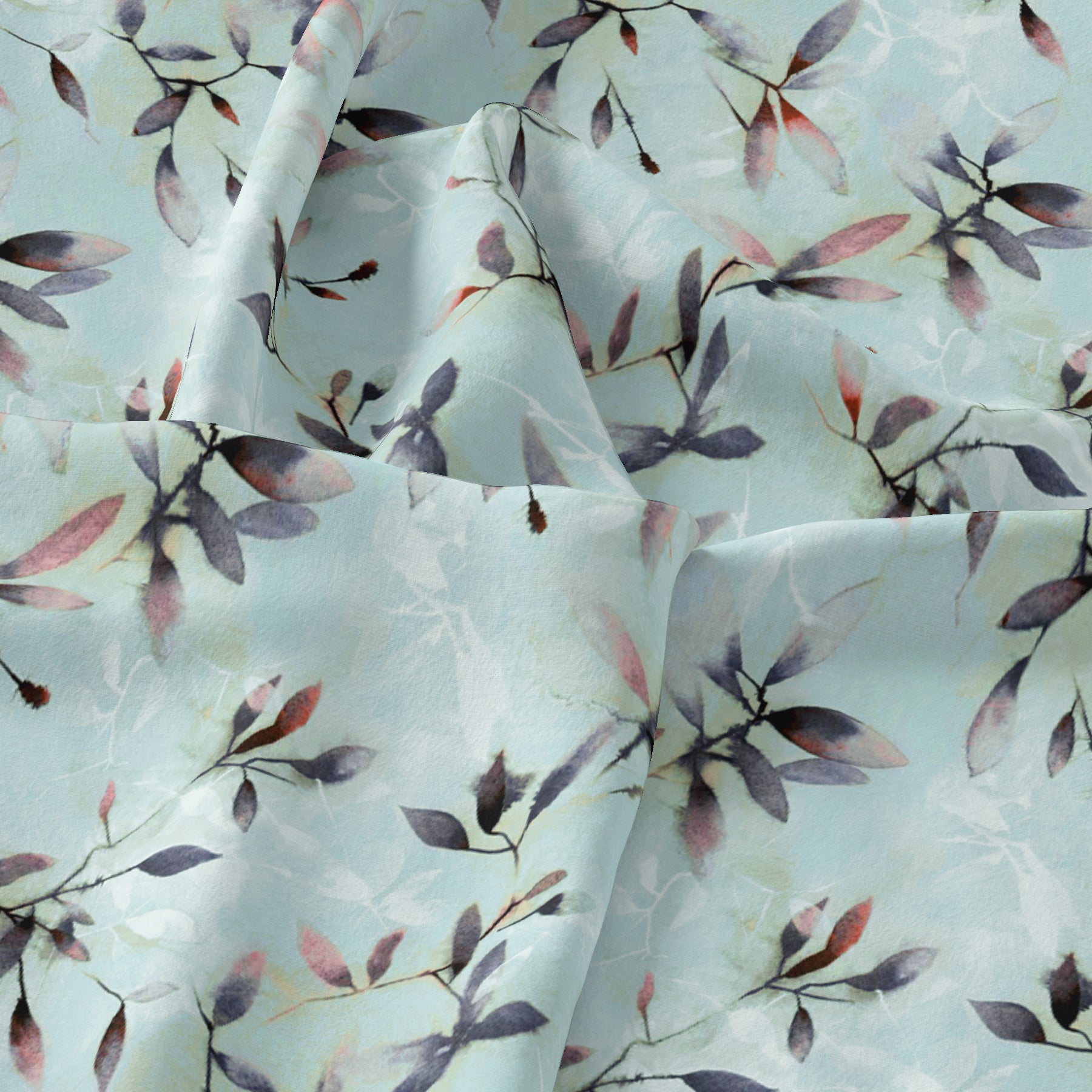 Bluish Thin And Light Leaves Digital Printed Fabric - Tusser Silk