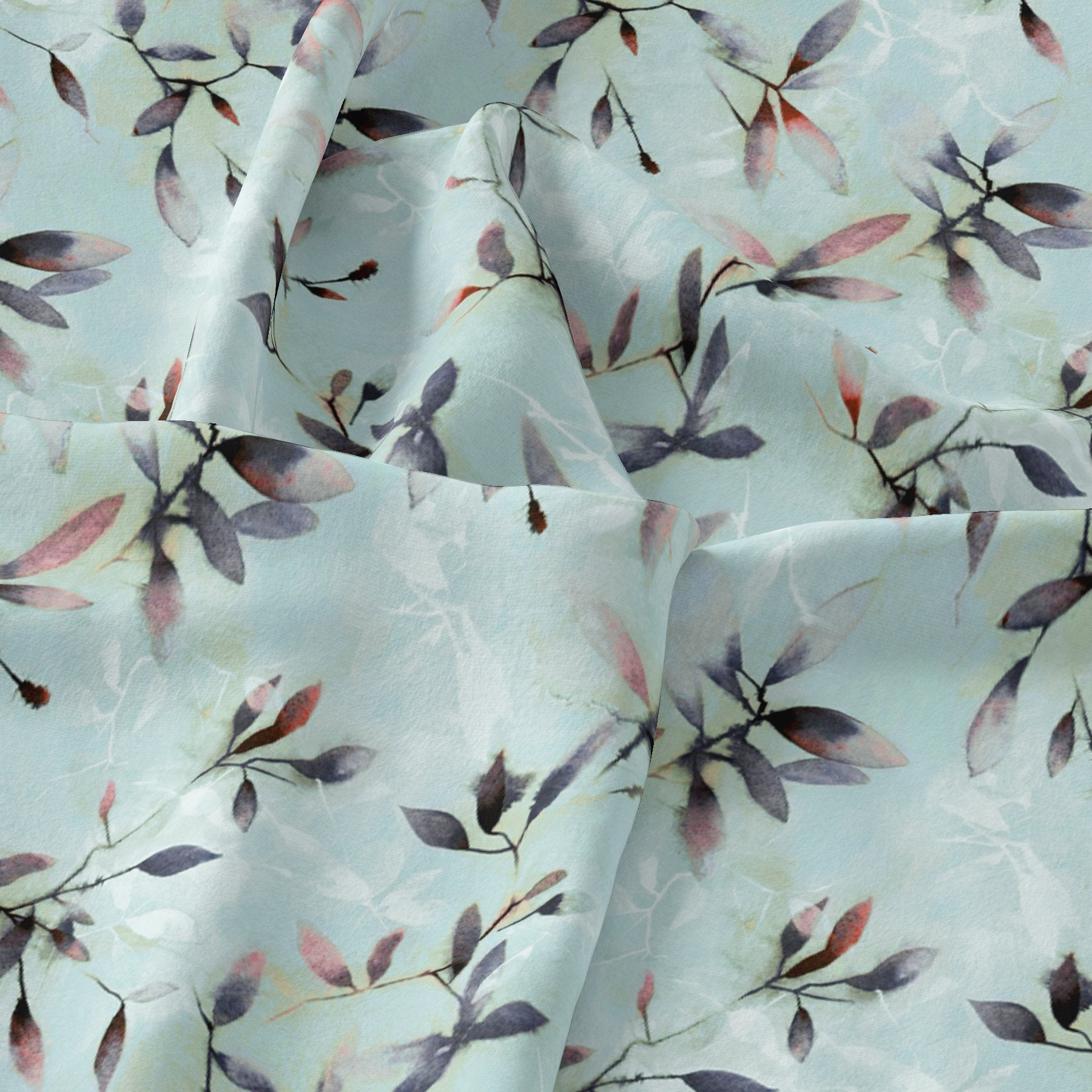 Bluish Thin And Light Leaves Digital Printed Fabric - Weightless