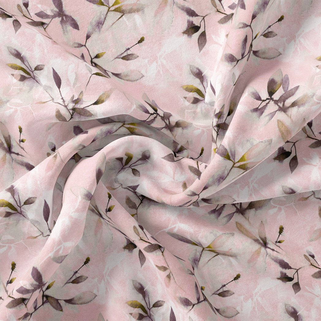 Pinkish Thin And Light Leaves Digital Printed Fabric - Pure Cotton - FAB VOGUE Studio