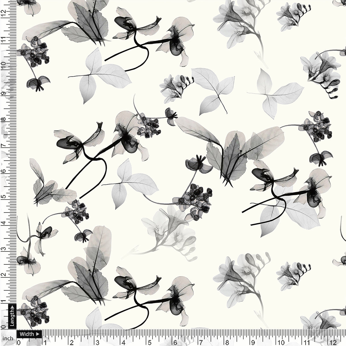Black Floating Flowers Digital Printed Fabric - Tusser Silk