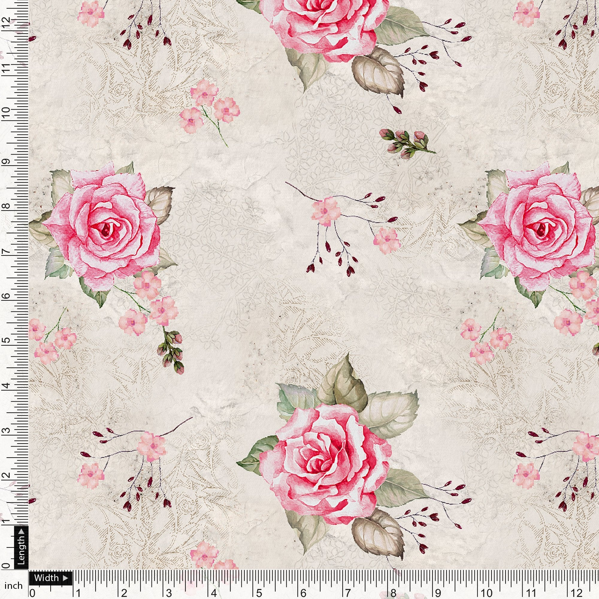 Beautiful Floating Pink Rose Digital Printed Fabric - FAB VOGUE Studio. Shop Fabric @ www.fabvoguestudio.com