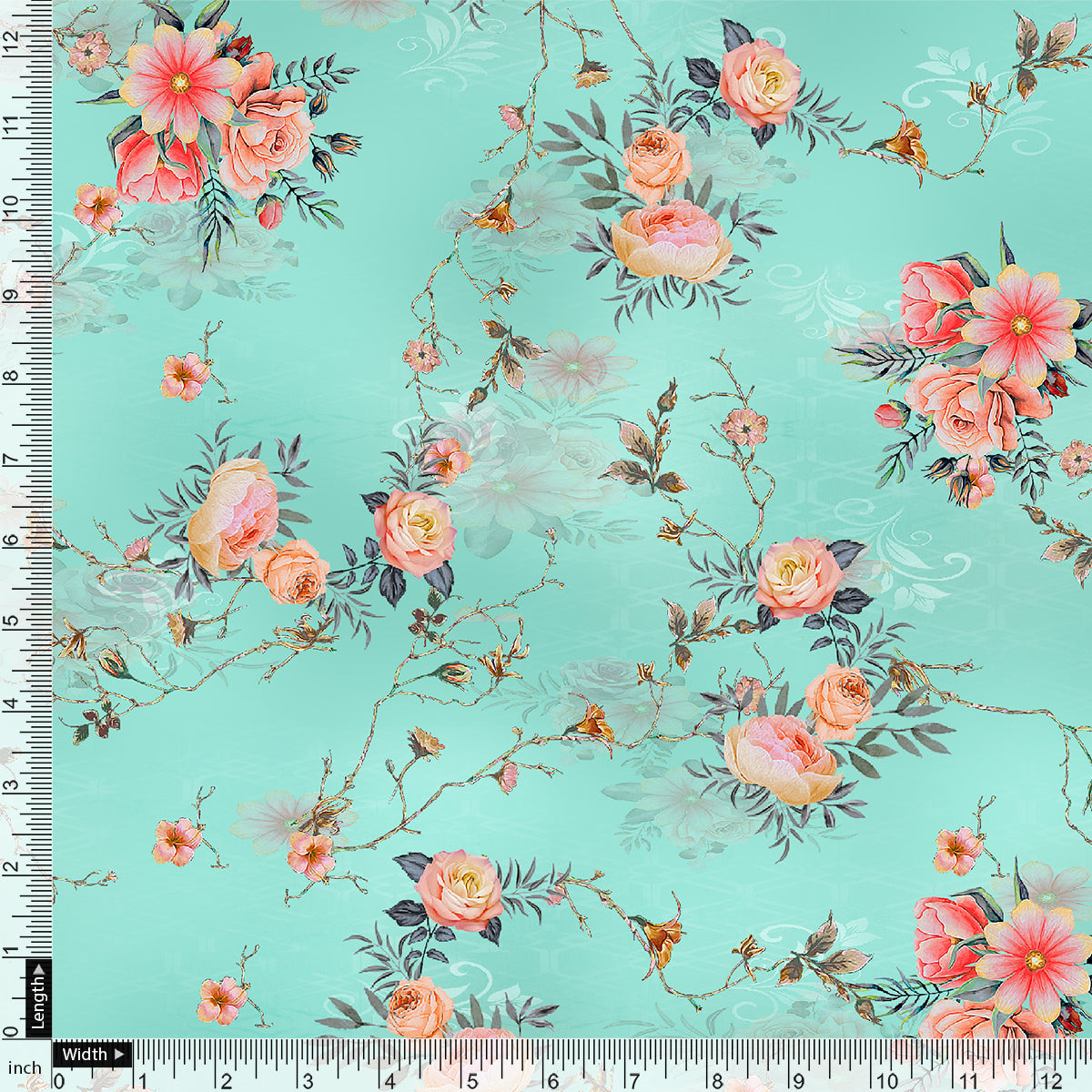 Flower Branch Allover Digital Printed Fabric - Pure Cotton