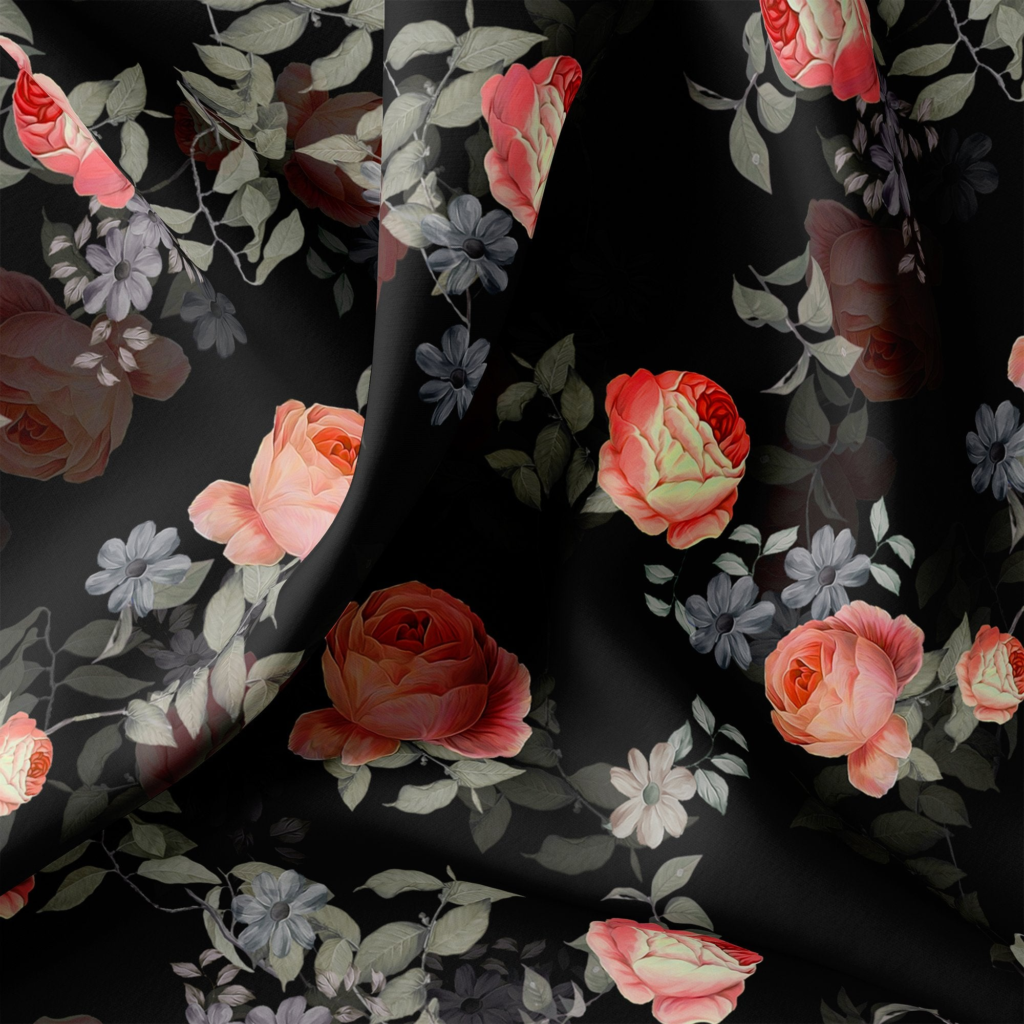 Elegant Floral Over Black Base Digital Printed Fabric - FAB VOGUE Studio. Shop Fabric @ www.fabvoguestudio.com