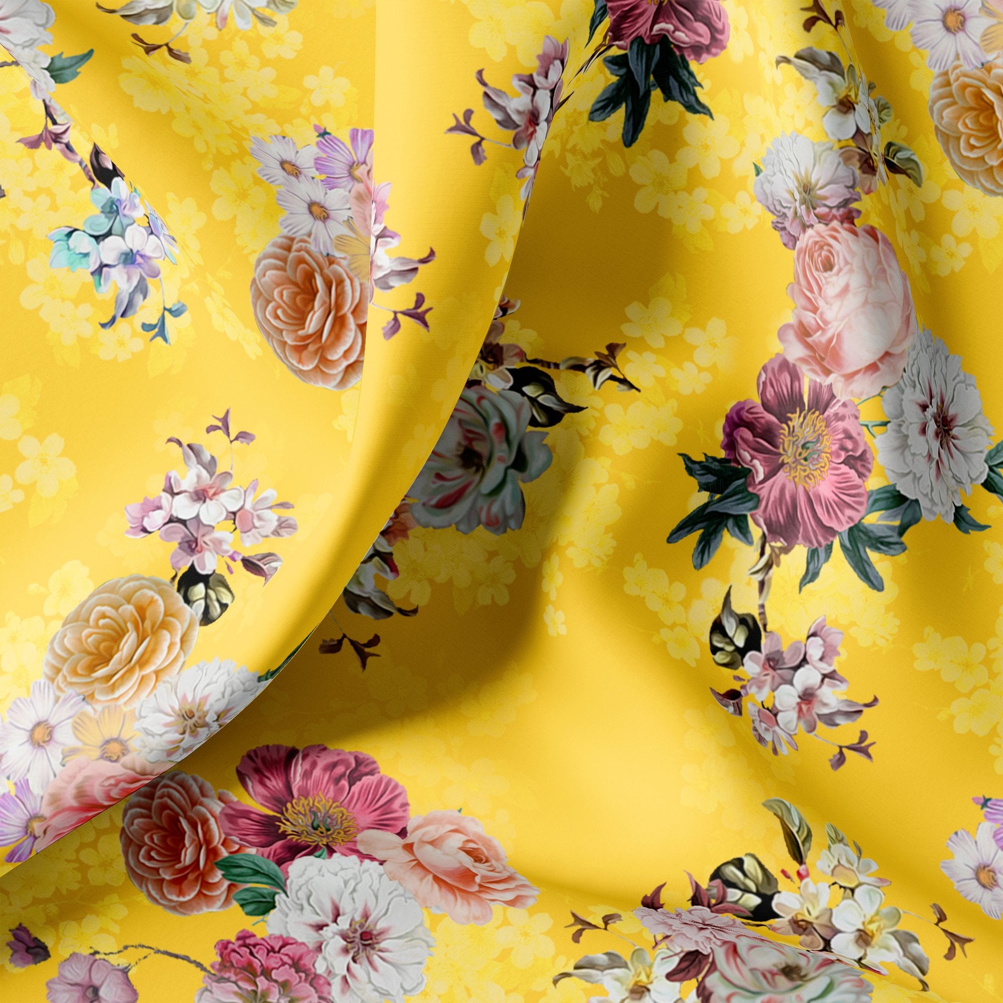 Beautiful Yellow Base Floral Bunch Digital Printed Fabric - FAB VOGUE Studio. Shop Fabric @ www.fabvoguestudio.com