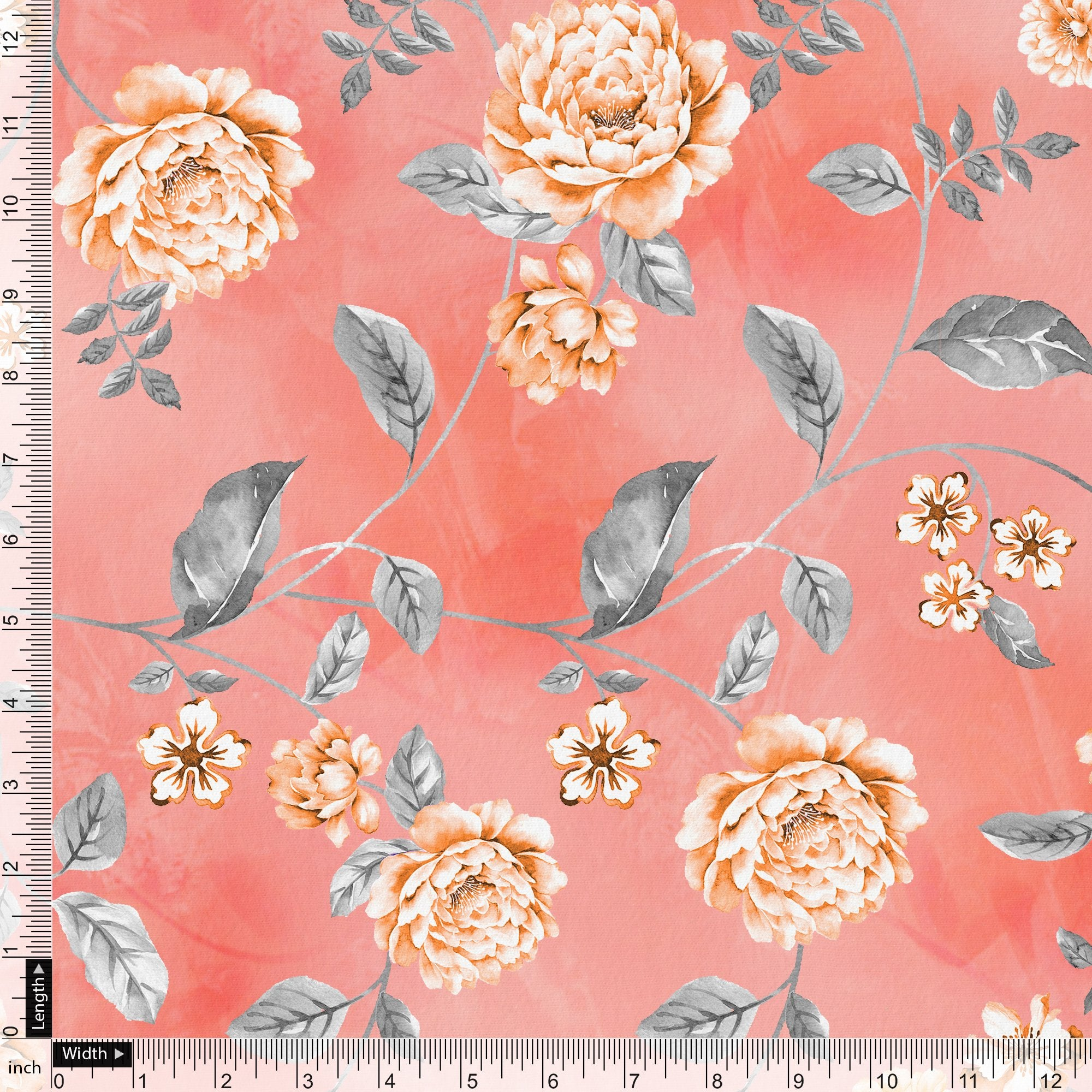 Beautiful Red Base Floral Vine Digital Printed Fabric - FAB VOGUE Studio. Shop Fabric @ www.fabvoguestudio.com