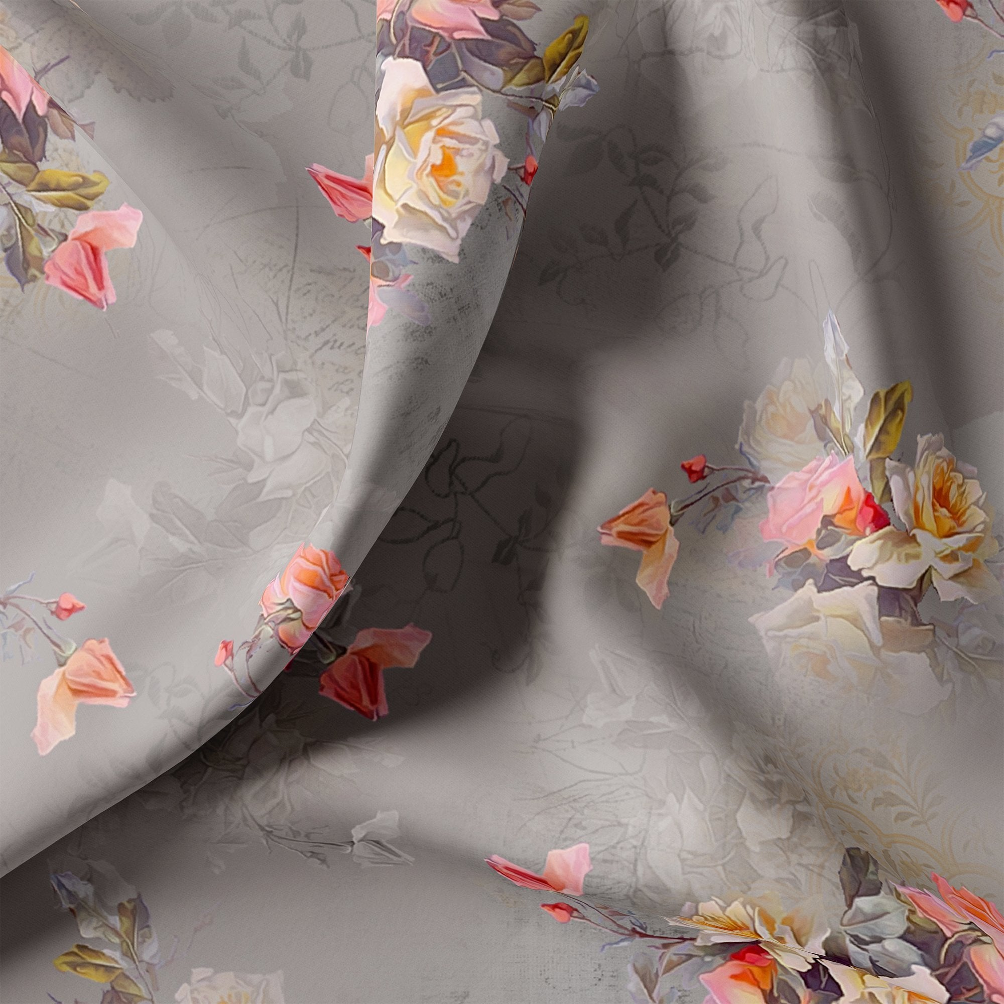 Pixel Floral Laying Over Grey Digital Printed Fabric - FAB VOGUE Studio. Shop Fabric @ www.fabvoguestudio.com