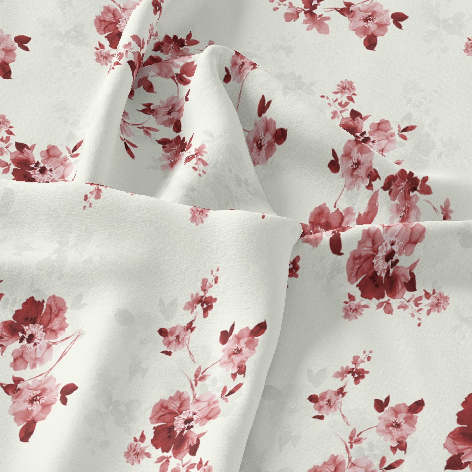 Maroon Flower Bunch Digital Printed Fabric - Pure Chiffon
