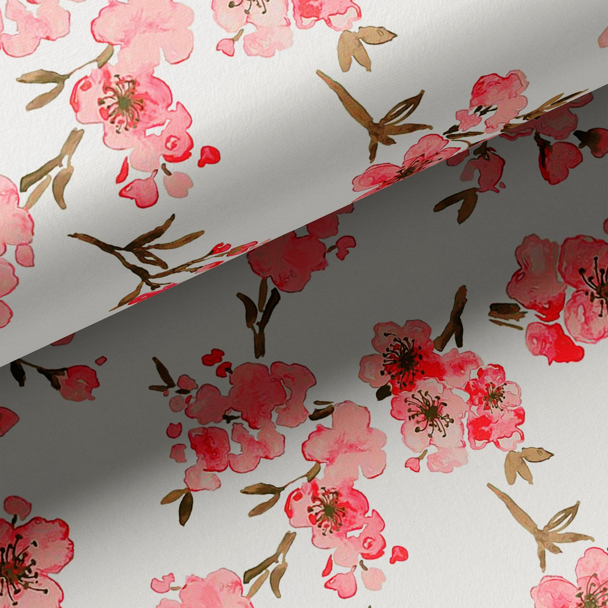 Beautiful Red Flowers over White Base Digital Printed Fabric - FAB VOGUE Studio. Shop Fabric @ www.fabvoguestudio.com
