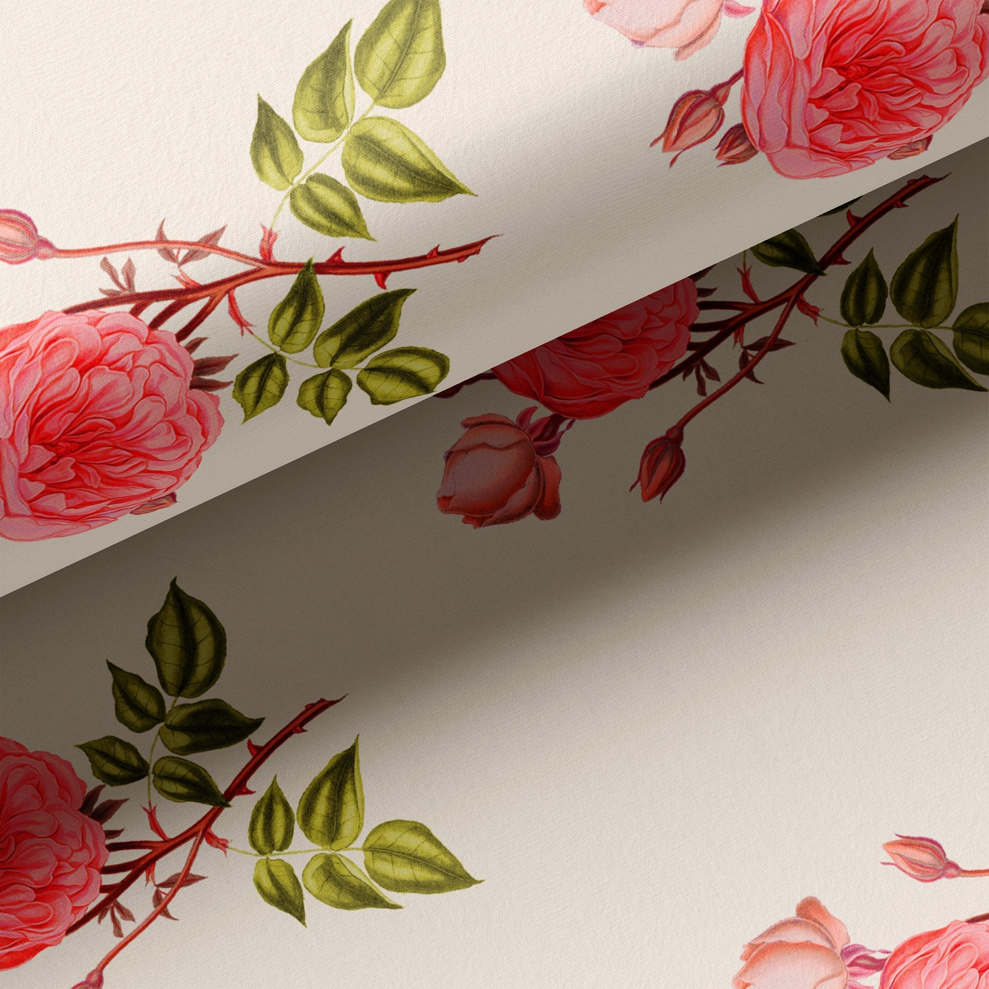 Red Rose Laying Over Peach Base Digital Printed Fabric - FAB VOGUE Studio. Shop Fabric @ www.fabvoguestudio.com