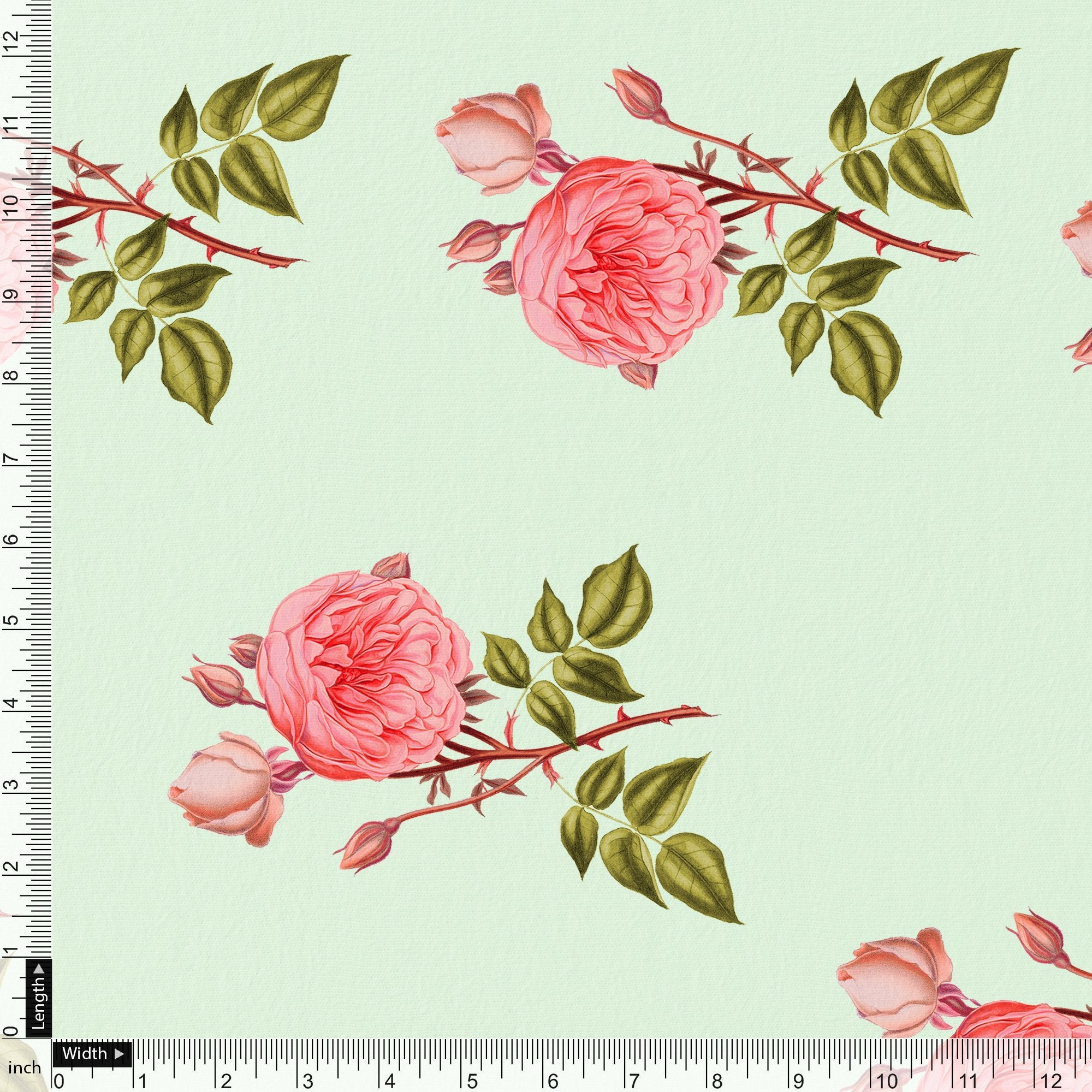 Red Rose Laying on Pista Base Digital Printed Fabric - FAB VOGUE Studio. Shop Fabric @ www.fabvoguestudio.com