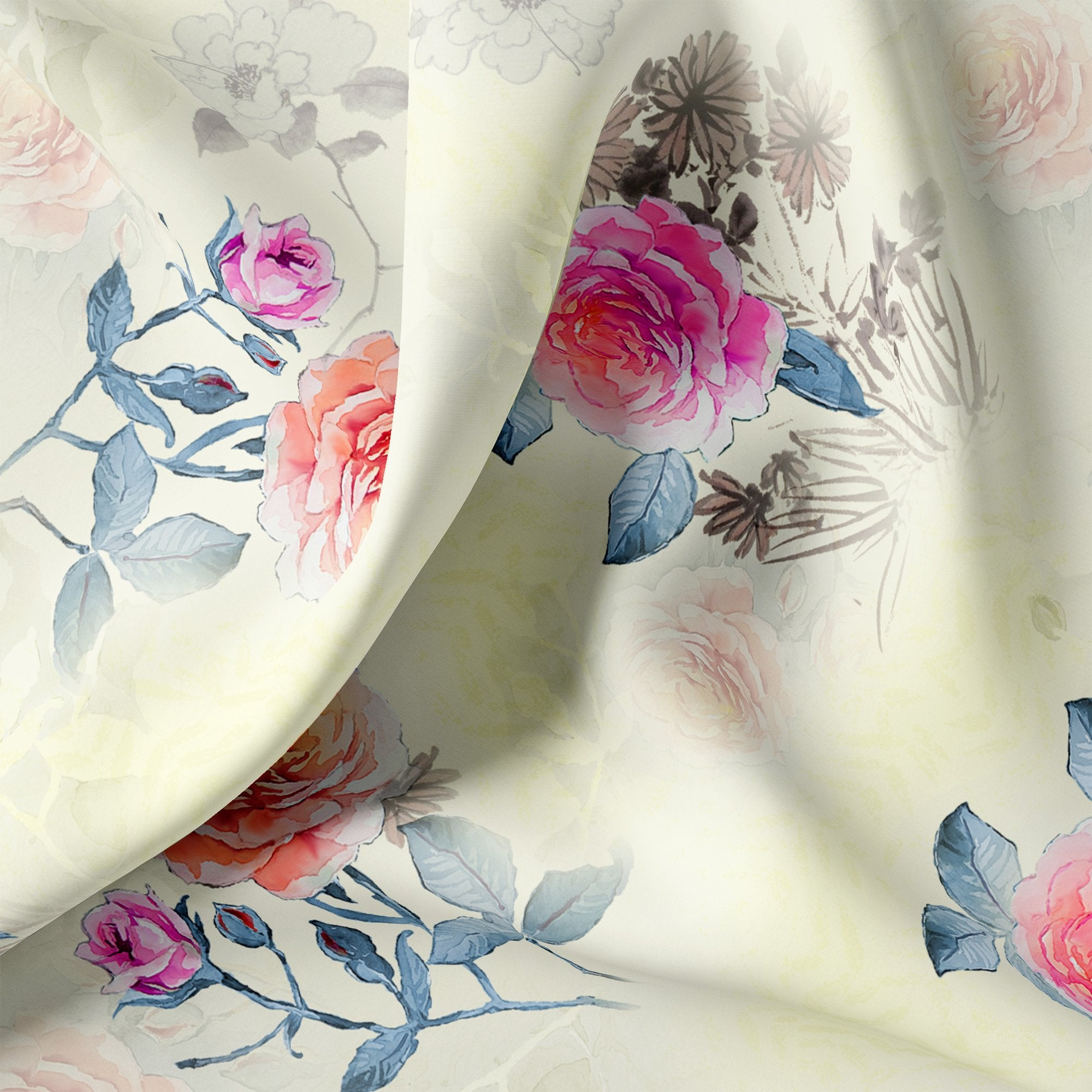Roses Floating on Yellow Base Digital Printed Fabric - FAB VOGUE Studio. Shop Fabric @ www.fabvoguestudio.com