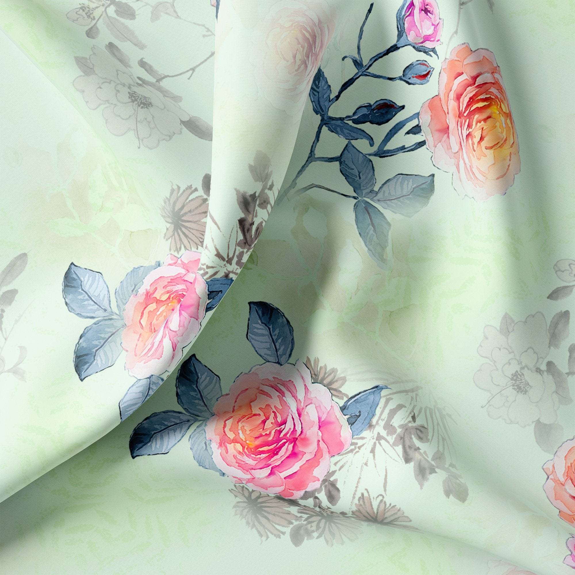 Roses Floating on Pista Base Digital Printed Fabric - FAB VOGUE Studio. Shop Fabric @ www.fabvoguestudio.com