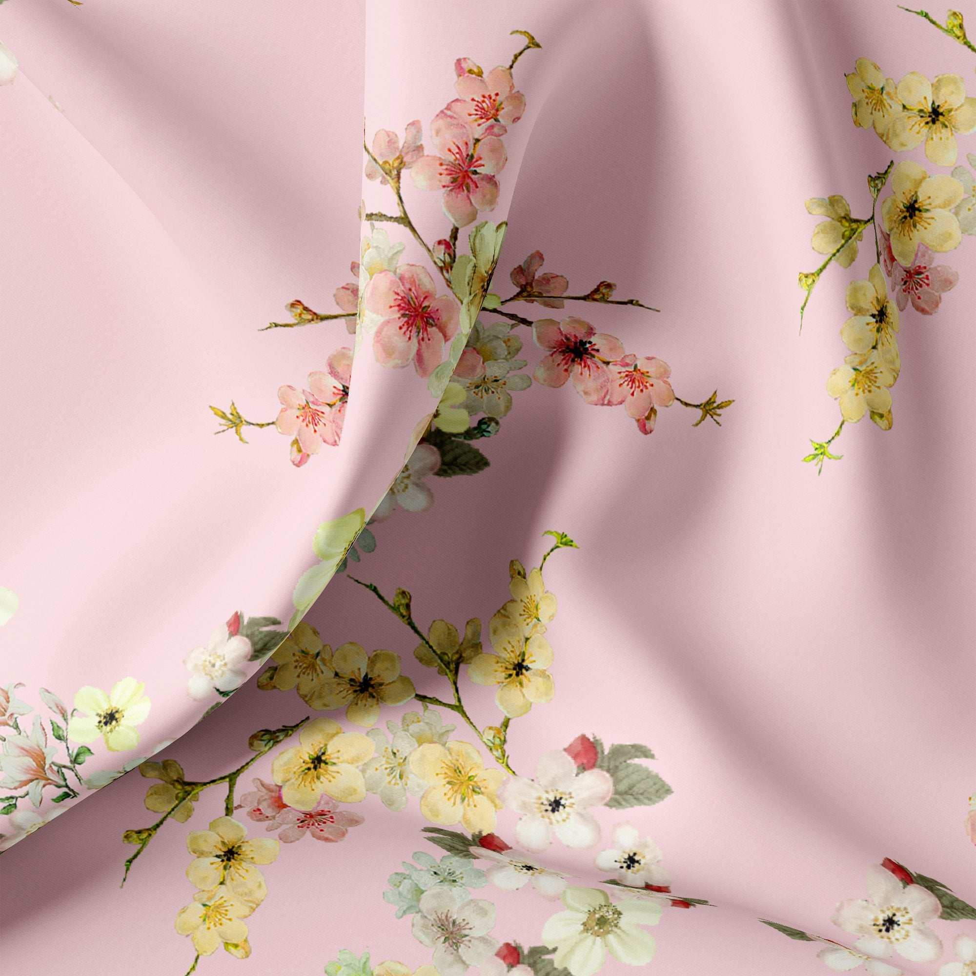 Beautiful Floral Vine Pink Base Digital Printed Fabric - FAB VOGUE Studio. Shop Fabric @ www.fabvoguestudio.com