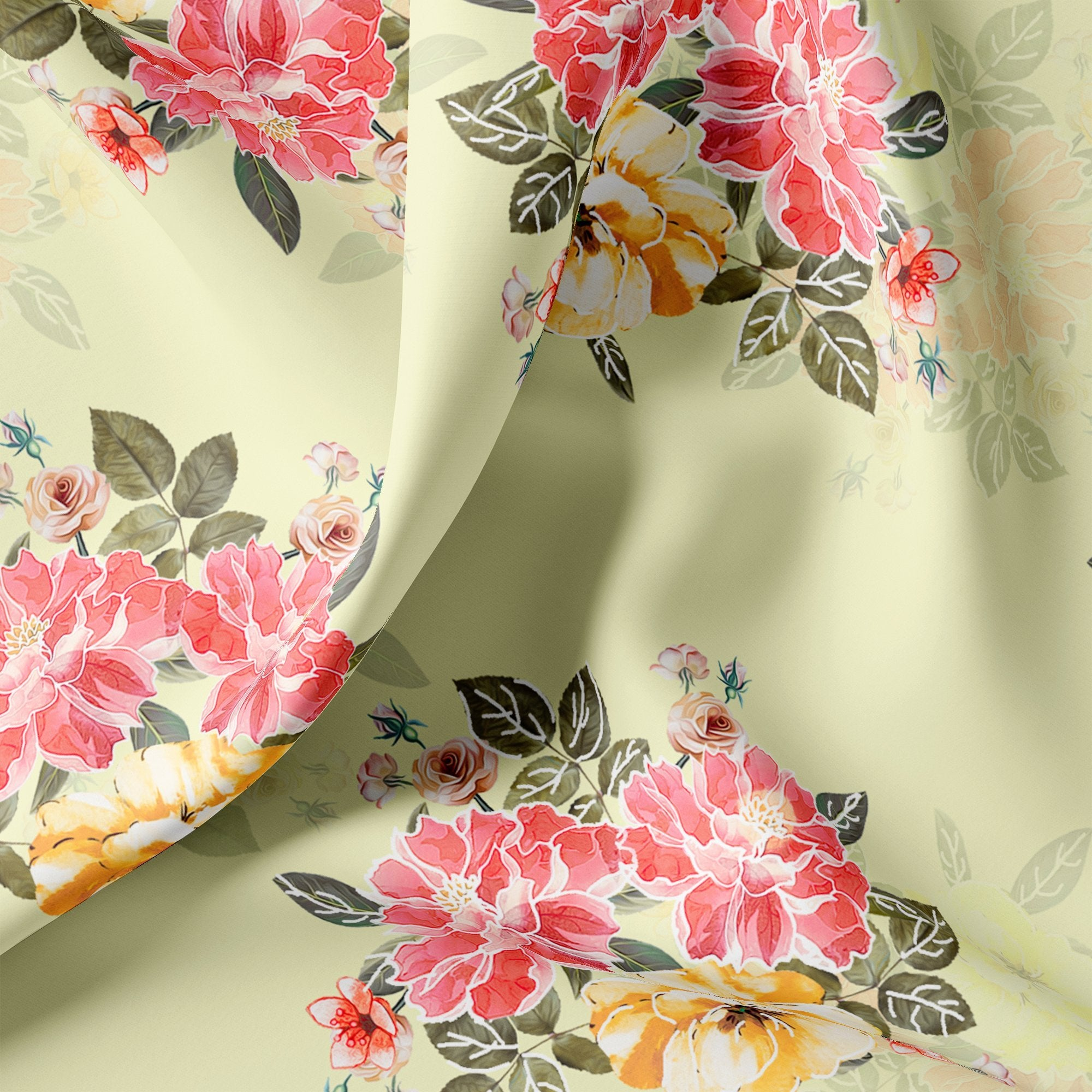 Colorful Floral Yellow Base Digital Printed Fabric - FAB VOGUE Studio. Shop Fabric @ www.fabvoguestudio.com