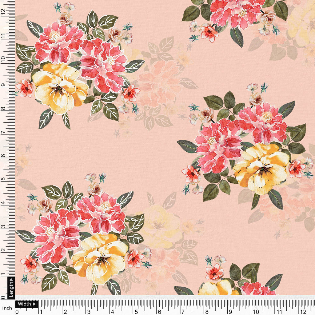 Colorful Floral Pink Base Digital Printed Fabric