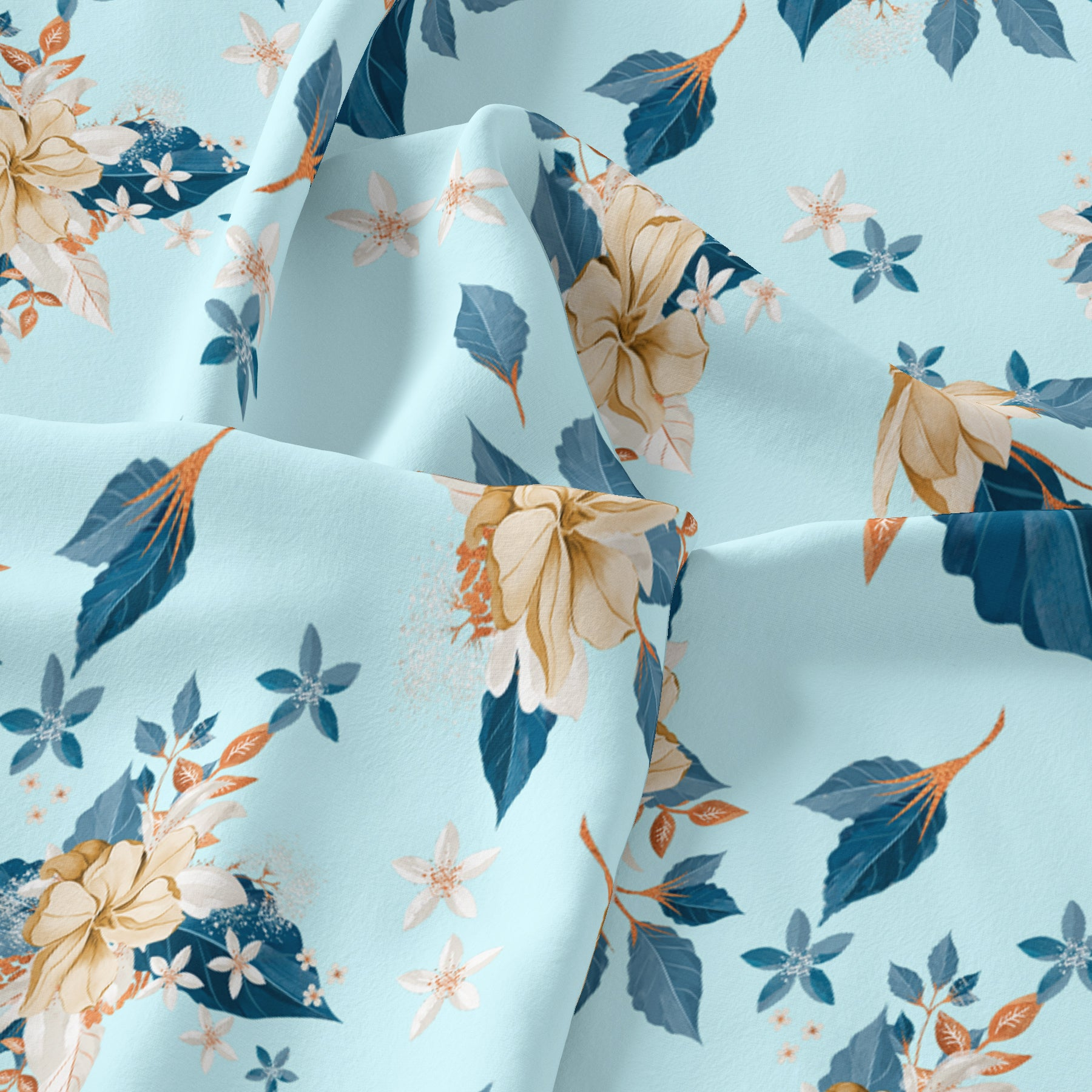Flower On Ocean Blue Digital Printed Fabric - Japan Satin