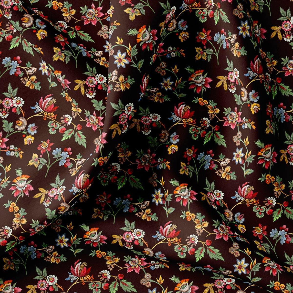 Small Wild Flower Motif Digital Printed Fabric - FAB VOGUE Studio. Shop Fabric @ www.fabvoguestudio.com