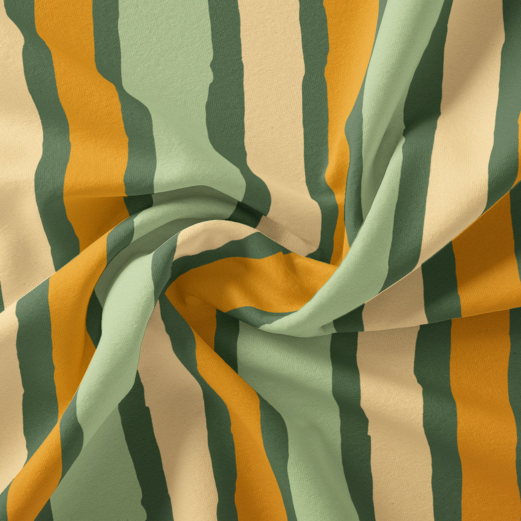 Yellow Green Stripes Digital Printed Fabric - Japan Satin