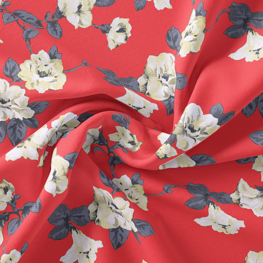 Red And White Flower Digital Printed Fabric - Crepe - FAB VOGUE Studio