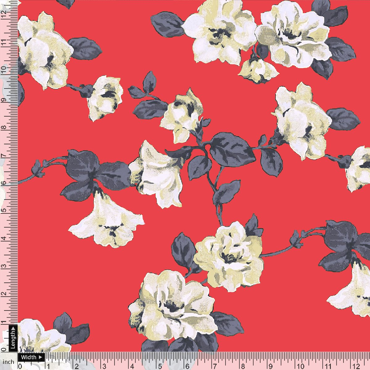 Red And White Flower Digital Printed Fabric - Crepe