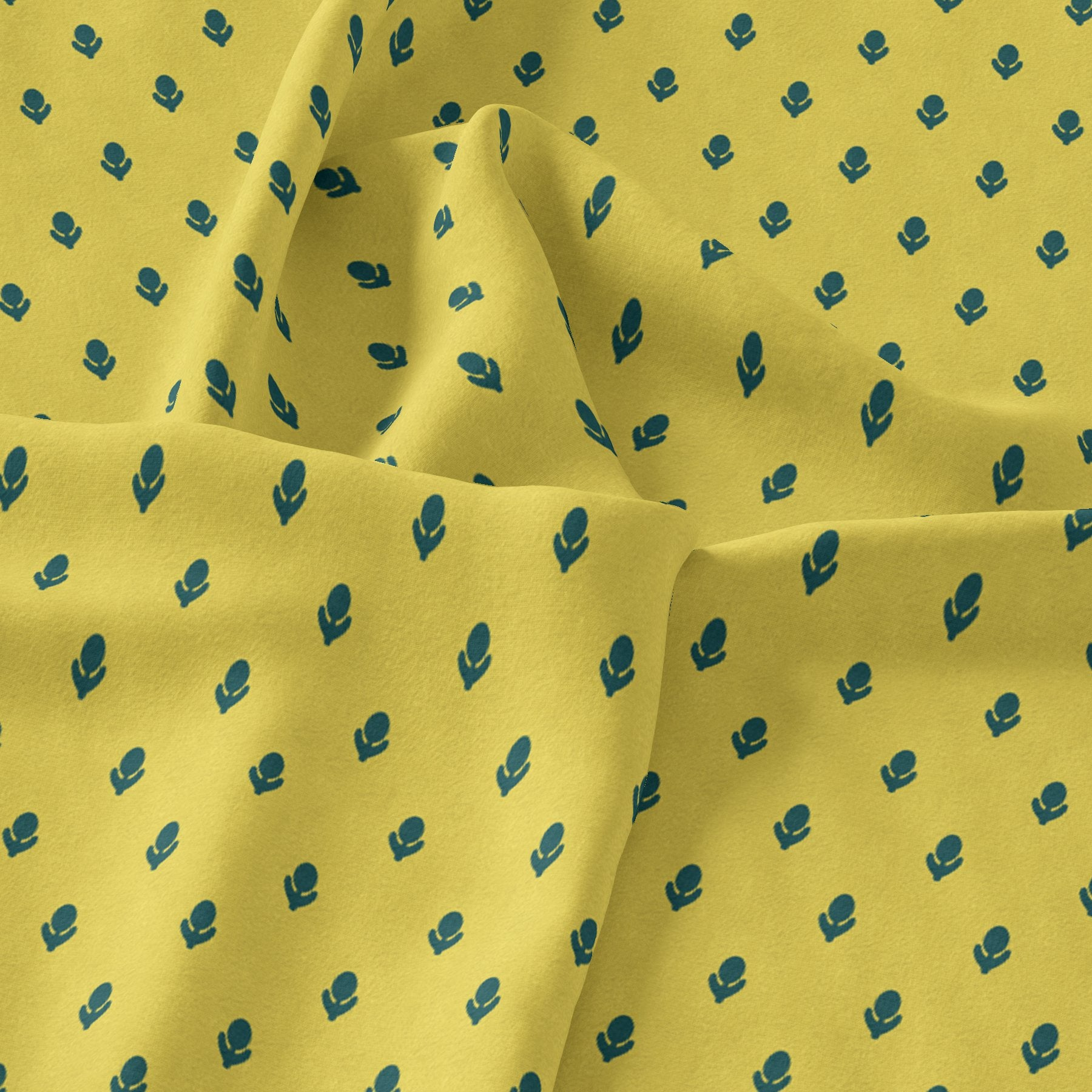 Lemon Yellow Small And Single Motif Allover Digital Printed Fabric - Upada Silk