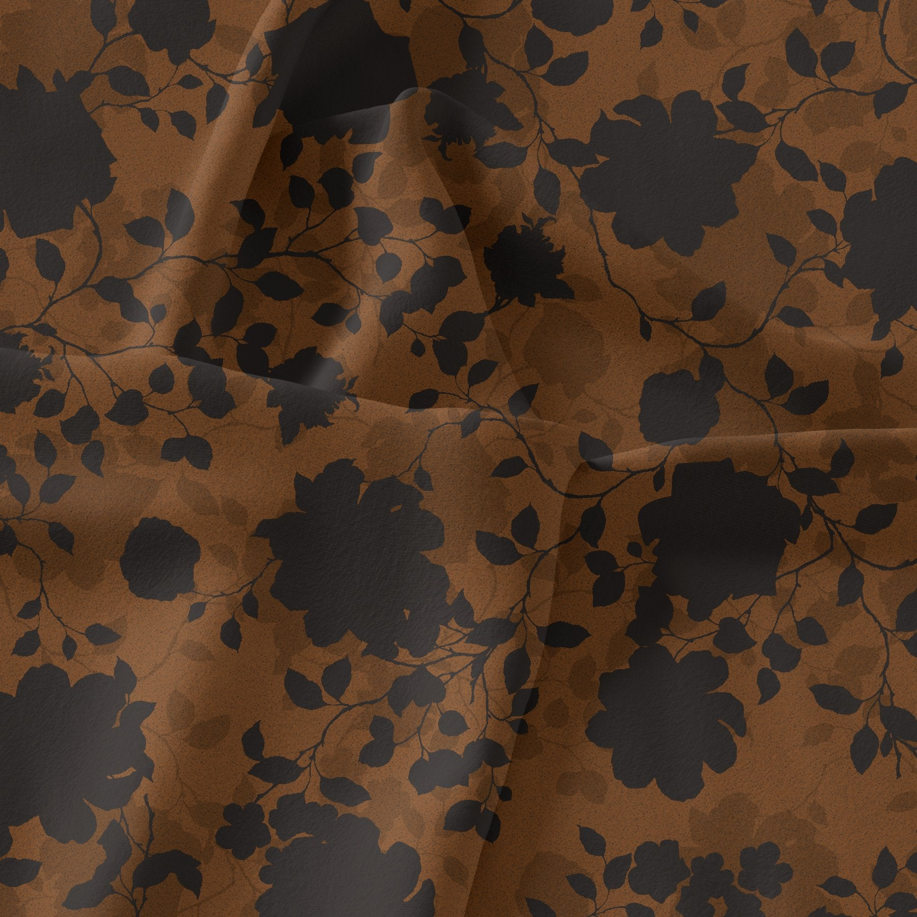 Black And Rustic Look Flower Digital Printed Fabric - Weightless