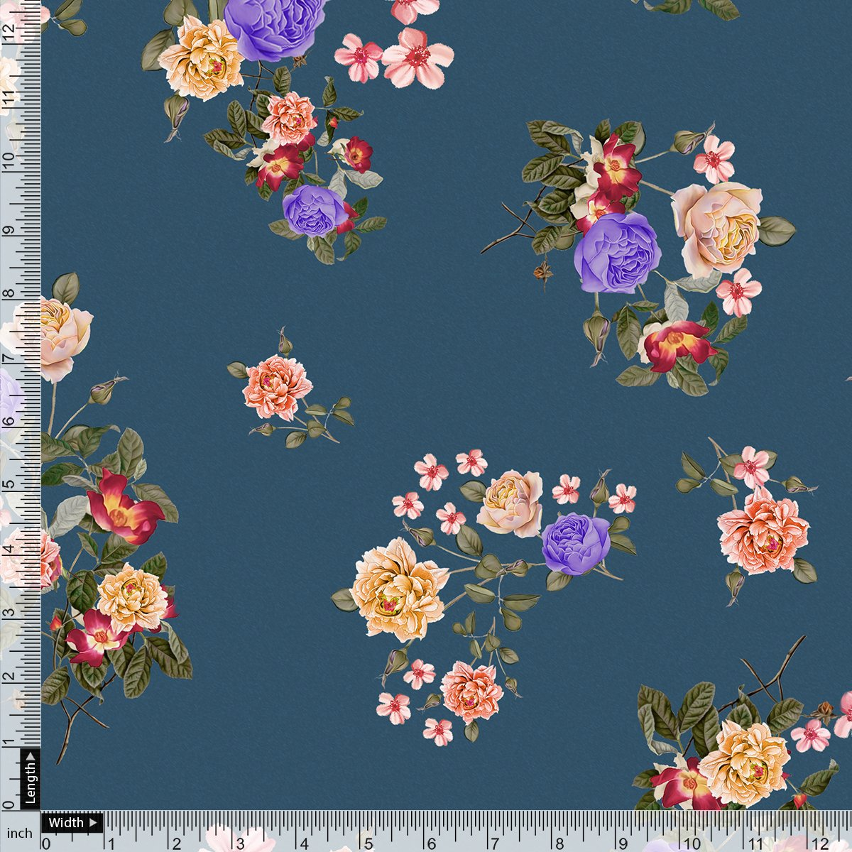 Colourful Flower Bunch Digital Printed Fabric - Japan Satin