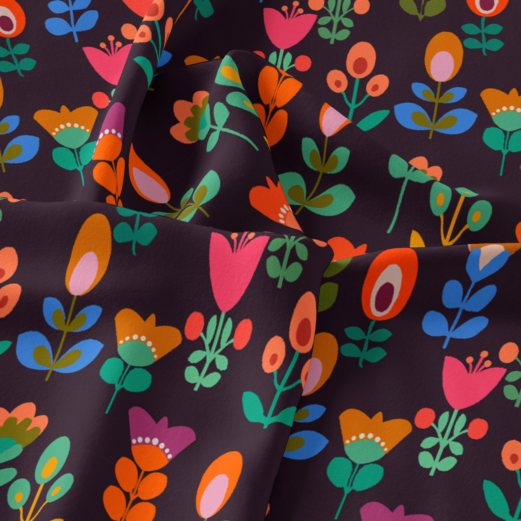Sketchy Flowers Pattern Digital Printed Fabric - Upada Silk