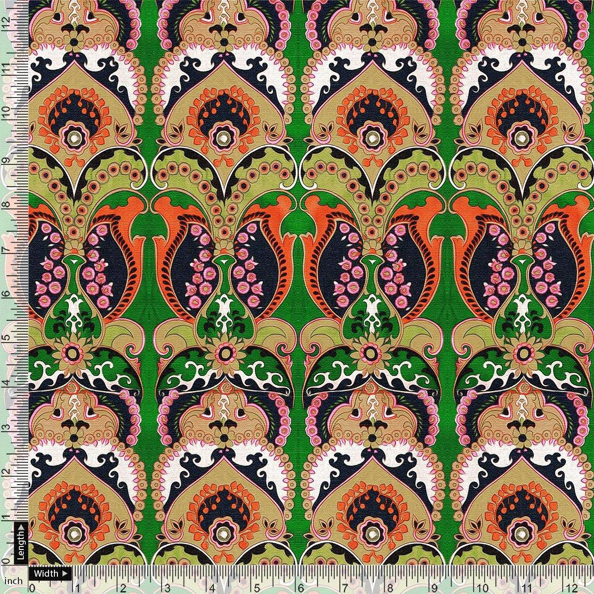 Green Aboriginal Damask Digital Printed Fabric - FAB VOGUE Studio. Shop Fabric @ www.fabvoguestudio.com