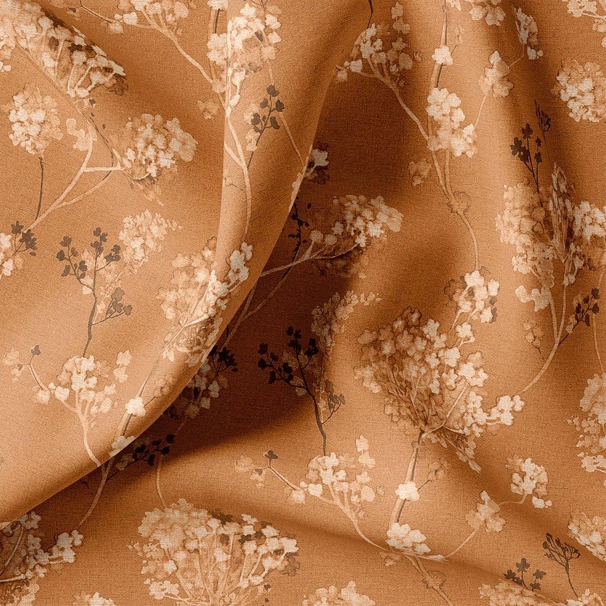 Brown Brush Painted Flower Digital Printed Fabric - FAB VOGUE Studio. Shop Fabric @ www.fabvoguestudio.com