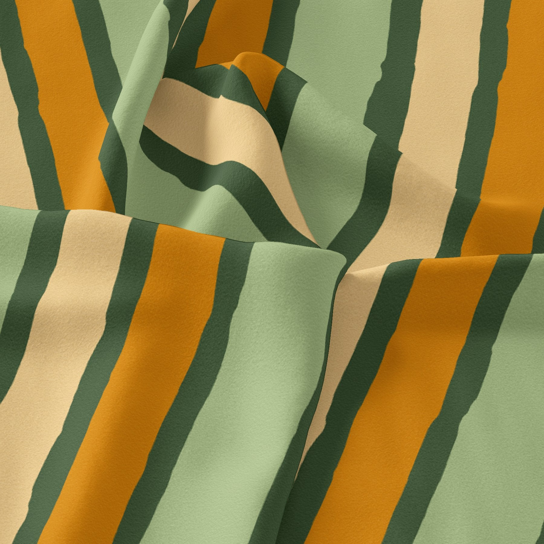 Yellow Green Stripes Digital Printed Fabric - Pure Georgette