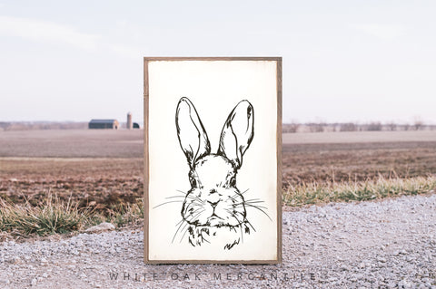 Hand Sketched Easter Bunny Sign