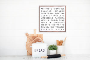 Italian Kitchen ABCs Sign