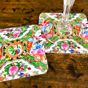 Double Sided Famille Rose Medallion + Pink Leopard Coaster (set of 24) in Gift Box