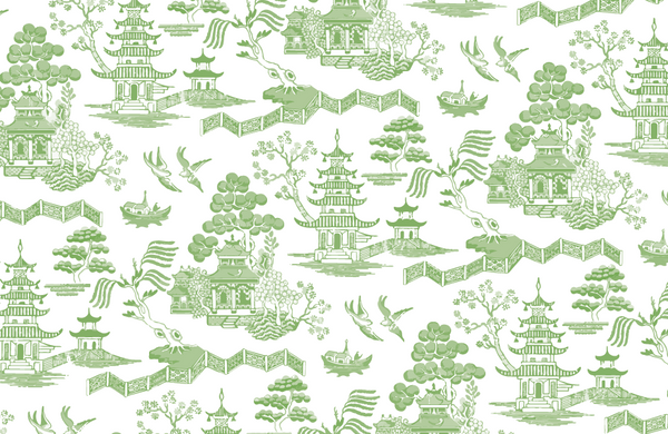 Green Chinz Toile Paper Placemat
